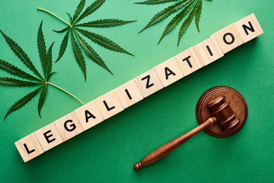 top view of green cannabis leaves and legalization word on wooden blocks near gavel on green background