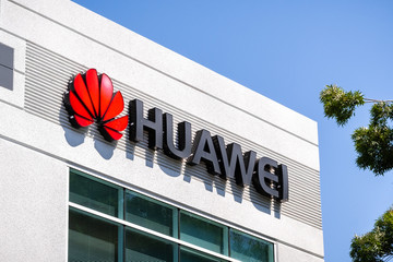 June 3, 2019 Santa Clara / CA / USA - Huawei logo at their offices in Silicon Valley; Huawei is a Chinese technology company that provides telecommunications equipment and sells consumer electronics