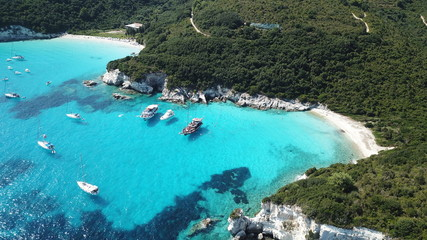 Acrylic Prints Shipwreck Aerial drone photo of tropical paradise turquoise beach of Voutoumi with sail boats docked in island of Antipaxos, Ionian, Greece