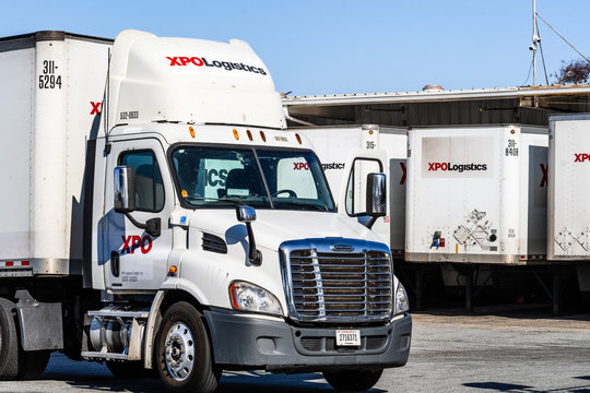 July 31, 2019 San Jose / CA / USA - XPO Logistics distribution point in San Francisco bay; XPO Logistics, Inc. is one of the 10 largest providers of transportation and logistics services in the world
