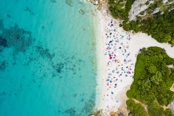 Wall Mural - View from above, stunning aerial view of a beautiful beach full of beach umbrellas and people sunbathing and swimming on a turquoise water. Cala Gonone, Sardinia, Italy.