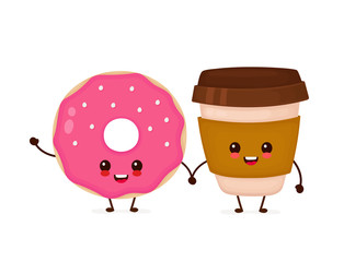 Happy cute smiling donut and coffee