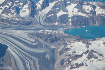 Aerial view of scenic Greenland Glaciers and icebergs