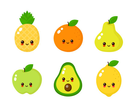 Happy cute smiling fruit face set