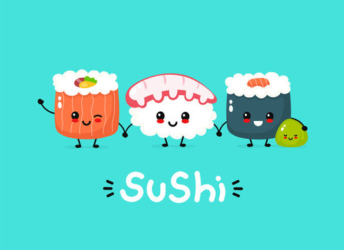 Cute happy funny smiling sushi,roll and wasabi