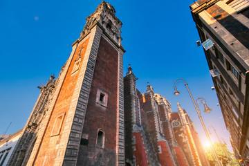 Mexico City streets in historic center near Zocalo Square