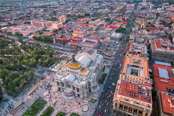 Panoramic view of Mexico City from the observation deck at the top of Latin American Tower (Torre Latinoamericana)