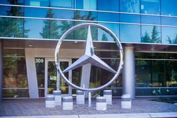 November 17, 2017 Sunnyvale/CA/USA - Mercedes emblem in front of their offices in south San Francisco bay, Silicon Valley