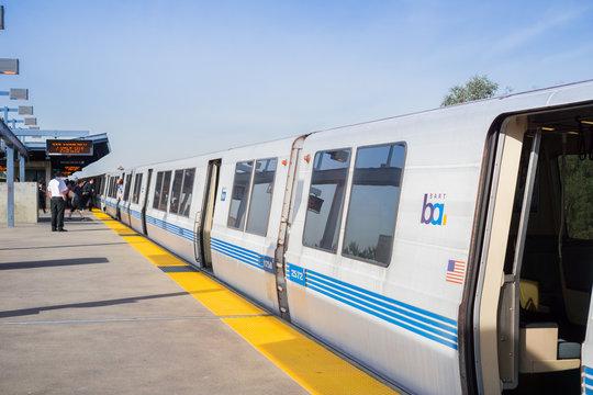 November 19, 2017 Oakland/CA/USA - BART train ready to depart from Coliseum BART stop, east San Francisco bay area
