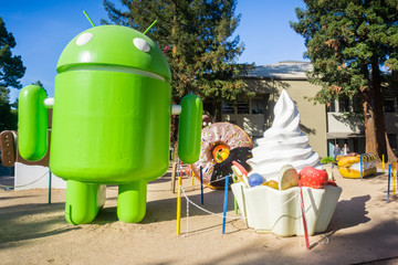 December 13, 2017 Mountain View / CA / USA - The Android Lawn Statues represent a photo opportunity in the Google office campus located in Silicon Valley, San Francisco bay area