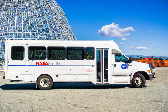 February 12, 2018 Mountain View / CA / USA - Shuttle used for carrying visitors around NASA Ames Research Center during a NASA social event