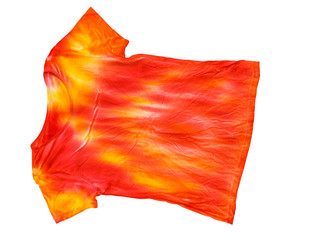 Bright t-shirt in tie dye style isolated on white background.
