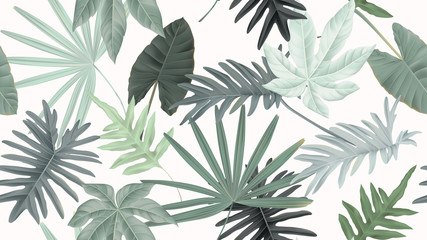 Botanical seamless pattern, various green leaves on light red, pastel vintage theme