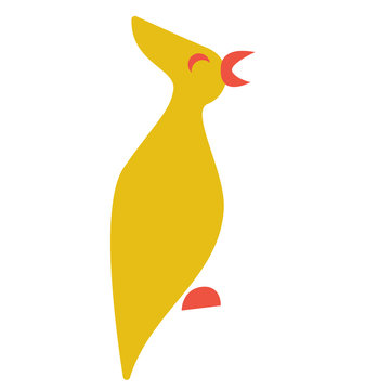 Yellow bird flat color illustration on white