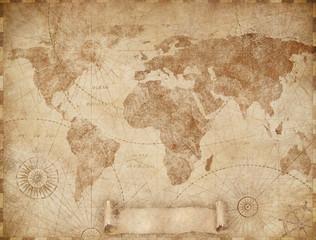 Medieval old world map illustration based on image furnished by NASA