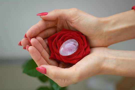 Female hands with manicure holding a yoni egg and red rose. The flower as a symbol of menstruation. Transparent violet amethyst crystal for vumfit, imbuilding or meditation during menstrual cramps