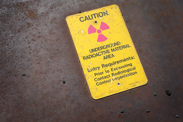 Underground radioactive material sign at nuclear reactor