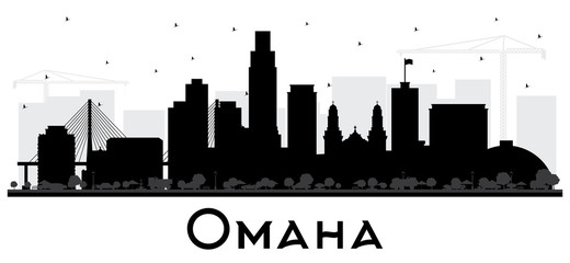 Wall Mural - Omaha Nebraska City Skyline Silhouette with Black Buildings Isolated on White.