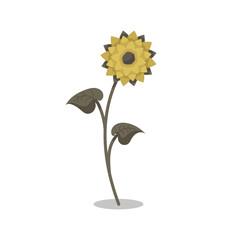 Isolated cartoon sunflower.