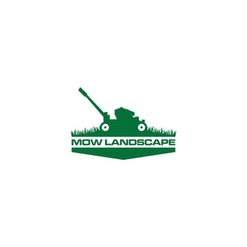 Green Mow Landscape Logo Design Vector