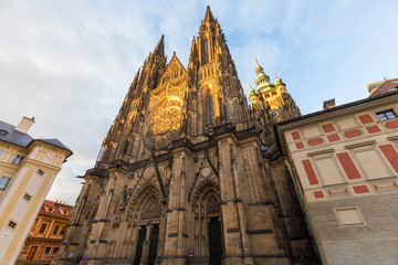 The Metropolitan Cathedral of Saints Vitus, Wenceslaus and Adalbert situated within the Prague Castle complex in Prague, Czech Republic, on a sunny late afternoon.