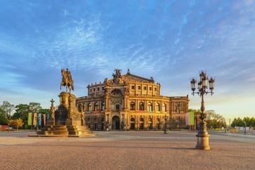 Dresden Germany, city skyline at Opera House (Semperoper)