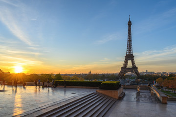 Paris France city skyline sunrise at Eiffel Tower and Trocadero Gardens