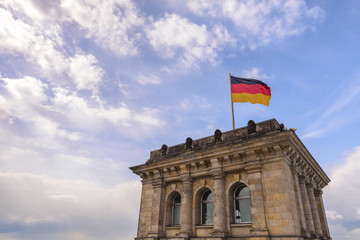 Berlin Germany, German flag at Reichstag German Parliament Building