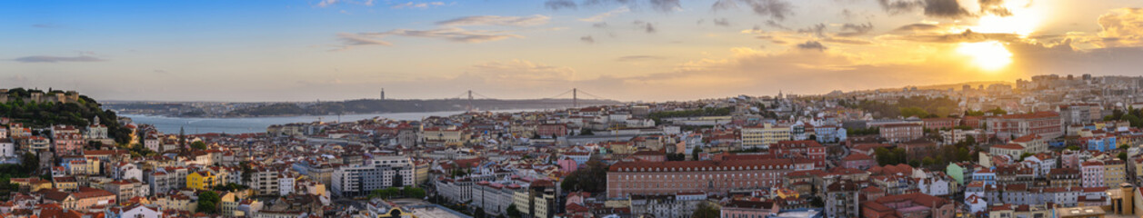 Lisbon Portugal aerial view sunset panorama city skyline at Lisbon Baixa district