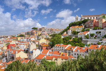 Lisbon Portugal, aerial view city skyline at Lisbon Baixa district