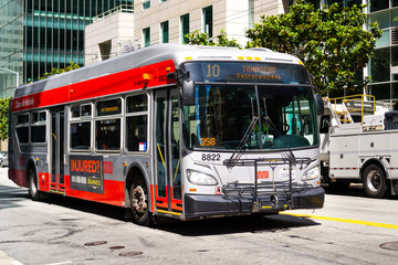 June 30, 2019 San Francisco / CA / USA - Muni bus travelling towards downtown San Francisco; The San Francisco Municipal Railway (MUNI) is the public transit system for the city and county