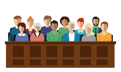 Twelve jurors sit in a jury box at a court trial,  vector illustration. Jury in court trial vector illustration. People in judging process, sittingin jury box, isolated on white background