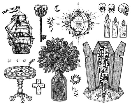 Design set with mystic symbols isolated on white. Vector engraved illustration in gothic and mystic style. No foreign language, all symbols are fantasy