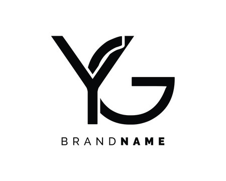 Creative and Minimalist Letter YG Logo Design Icon, Editable in Vector Format in Black and Gold Color