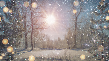 Fairytale winter park with sparkles 3D rendering illustration