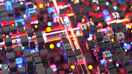 Blue and red light streaks and matrix of cubes 3D render illustration