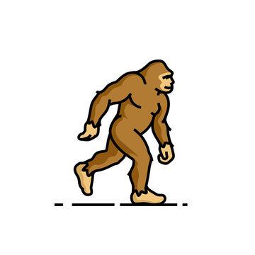 Bigfoot line icon. Sasquatch symbol. Yeti sign. Vector illustration.
