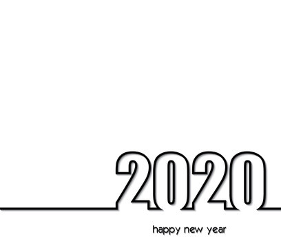 2020 Background creative greeting card design in black and white colors, can be used for flyers, invitation, posters, brochure, banners, calendar.