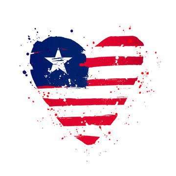 Liberian flag in the form of a big heart.