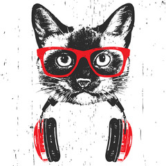 Portrait of  Siamese Cat with glasses and headphones. Hand-drawn illustration. T-shirt design. Vector