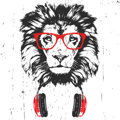 Wall Murals Hand drawn Sketch of animals Portrait of Lion with glasses and headphones. Hand-drawn illustration. Vector