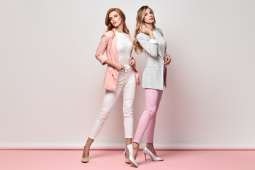 Fashionable autumn woman sisters well dressed with stylish hairstyle, makeup. Two Shapely Girl Having Fun, Trendy coral pink outfit, heels, fashion hair. Gorgeous glamour female model,autumnal concept