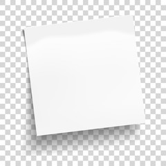 White sheet of note paper isolated on transparent background. Sticky note. Mockup of white note paper. Vector illustration.