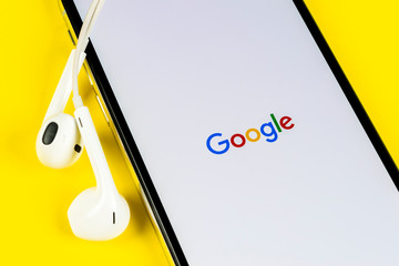 Helsinki, Finland, May 4, 2019: Google search application icon on Apple iPhone X smartphone screen close-up. Google app icon. Social network. Social media icon