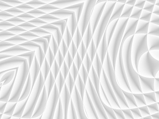 White and light grey futuristic pattern. Monochromatic design for backgrounds, templates, backdrops, surface, textile and fabric designs. 3d render illustration