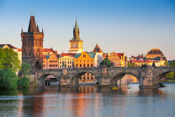 Poster Prague Scenic view Charles bridge and historical center of Prague, buildings and landmarks of old town at sunset, Prague, Czech Republic