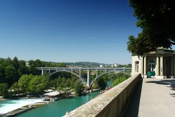 View from the square 'Münsterplattform' to the Kirchenfeldbrücke  (Churchfieldbridge) and the river Aare in Bern, Switzerland, summer 2019