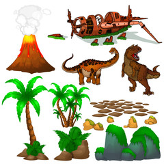 Set of pictures with dinosaurs, stones and trees. Vector illustration of the dinosaur world.