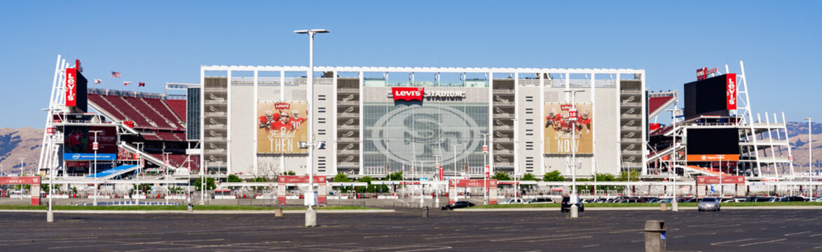 August 1, 2019 Santa Clara / CA / USA - Panoramic view of Levi's Stadium, the New Home Of The San Francisco 49ers built in Silicon Valley