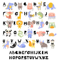 Funny Alphabet for young children with names and pictures of animals assigned to each letter. Learning English for kids concept with a font in black capital letters in vector